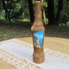 Vintage Covered With Wooden Bark Bottle, Barked Bottle, Krimea Bottle, Handmade cowered bottle, Wood