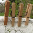 Four Wooden Clothespins, Altered Art Holder, 4 Wooden Clothespins from USSR, Vintage Laundry Display