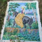 Woman on horse near lake embroidery pictures, Wall fiber art, Hendmade home decor, Handmade pictures