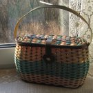 USSR Braided Basket, Vintage Case Retro, Blue-Tan Basket Container Made in USSR, Bag with lock from