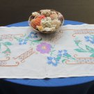 White Table Linen Embroidered Table, Floral Tablecloth, Embroidery Tablecloth, Hand Embroidered, Han