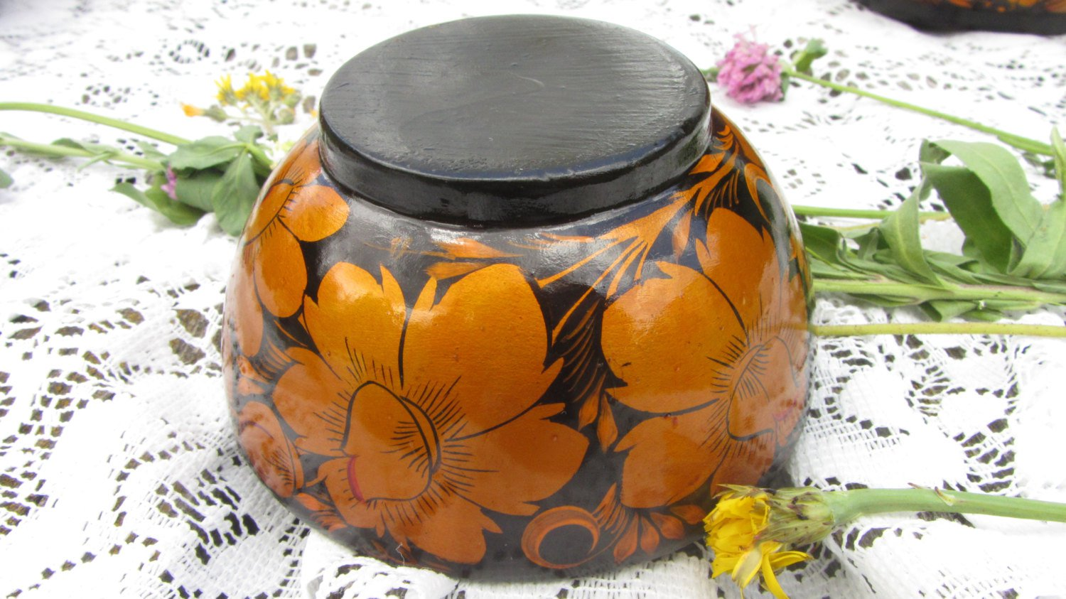 Hand Painted Russian Vintage Wooden Bowl, Traditional Russian Khokhloma Bowl, Floral Wooden Bowl, La