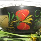 Russian Khokhloma Bowl, Traditional Russian vintage hand painted wooden bowl, Strawberry Wooden Bowl