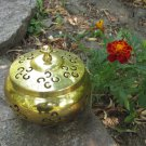 Vintage English Golden Colored Metal Lidded Pot Bowl, Trinket Jewelery Dish Basket, Midcentury metal