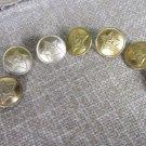 Seven Buttons Vintage Golden Color Black Back Side Metal Star Buttons, DIY Metal Seven military butt