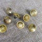 Small 8 Buttons Golden Color Metal Star Buttons with Balck Back Side, Vintage Star Button Military S
