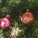 Christmas 2 glass ball,  Antique Christmas decor, Christmas ornament of Glass, USSR, Soviet Christma