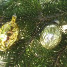 Vintage Christmas golden pine cone and nut, Antique Christmas decoration, Christmas ornament of Glas