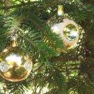 Vintage Christmas Ornament, 2 glass balls ornament, gold, Antique Christmas decor, Christmas ornamen