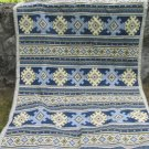 Vintage cotton Blue tablecloth, Blue tablecloth with Ukrainians ornament, great tablecloth with orna