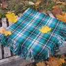 Blue and Black checkered pattern wool scarf, USSR vintage wool scarf, Warm gift for christmas, Chech