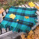 Blue and Green checkered pattern wool scarf, USSR vintage wool scarf, Warm gift for christmas, Chech