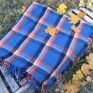 Blue, Yellow Black checkered pattern wool scarf, USSR vintage wool scarf, Warm gift for christmas, C