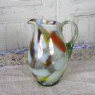 Jar with handle for juice or punsh, Pitcher Juice Jug Vase, Juice/Milk bowl, Art Decor Glass Vase, M