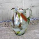 Jar with handle for juice or punsh, Pitcher Juice Jug Vase, Juice/Milk bowl, Art Decor Glass Vase, M