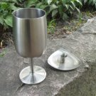 Medium silver color Vintage Goblet with candleholder, Midcentury lookind cup with candle holder, Vin