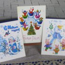 Cute and Lovly White Baclground Christmas Animals Pictures Post Cards NEW Unused, Set of 3 Cute Anim