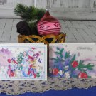 Old Postcards Set of 2, Two Cute Condition Christmas Post Cards Blank USSR, Soviet Union Christmas,
