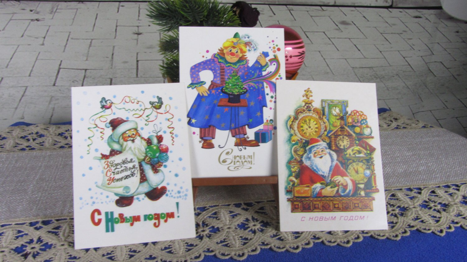 Set of Three Ded Moroz and Arlekin New Never Used Post Cards USSR Era, Christmas Three Greating Post