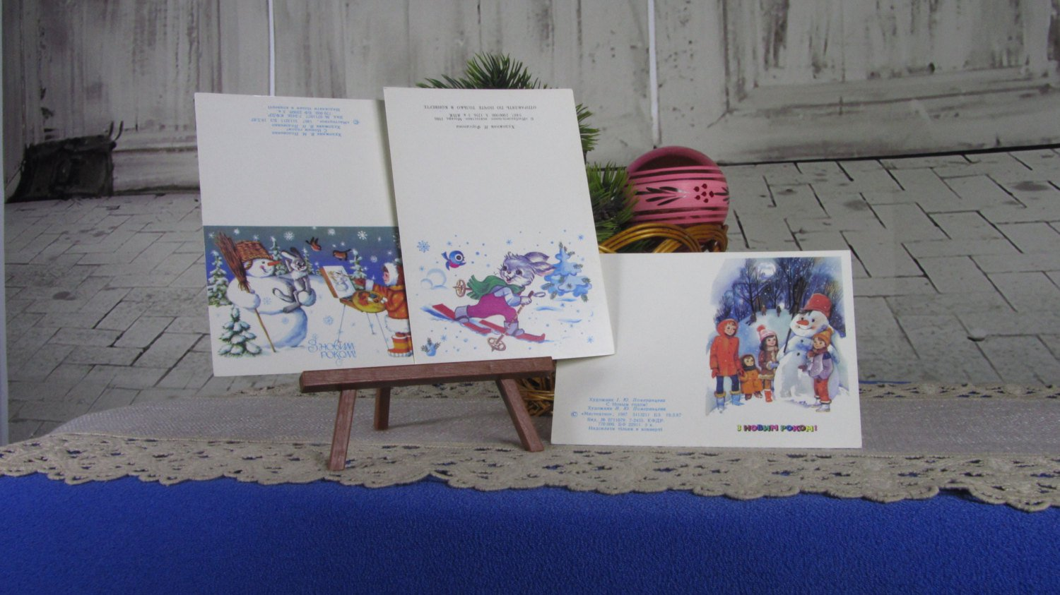 Set of Three Greeting Christmas Cards with Animals and Snow Man USSR Era, Vintage Fancy Cute Post Ca