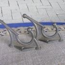 2 Dark Medium Wall Rack Hooks USSR 1970s, Medium Soviet Vintage Aluminium Clothes Hook, Medium Cloth