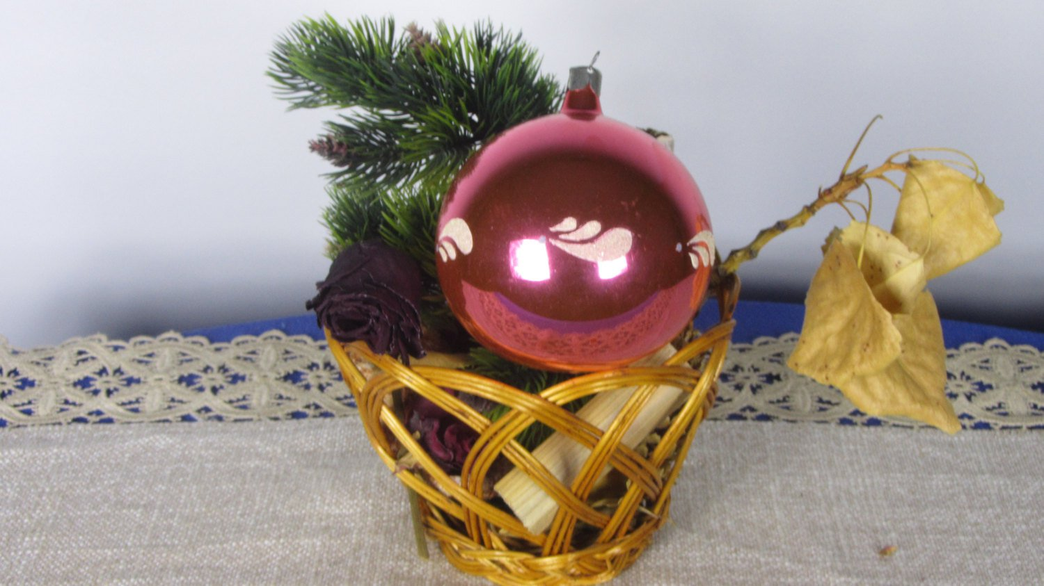 Big Shabby USSR Old Christmas Tree Glass Red Ball, Classical Christmas Huge Glass Ornamented Red Bal