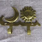 Golden Colored Brass Kids Room Hinge With Two Hooks, Sun And Moon Shaped Hook For Kids Room, wardrob
