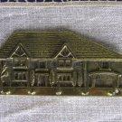 Golden Colored Brass Metal Key Hinge 5 Hooks In Shape Of Cottage With Garage, Key Hooks Golden Color