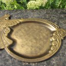 Golden Colored Vintage Tray With Cock Shaped Handle And Pattern On Edges, Metal Golden Colored Tray