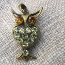 Owl Vintage Small Cute Pendant Jewelry With Rhinestones, Birthday Christmas Gift For Her Idea, Perfe