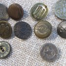 Set Of 11 Assorted Buttons From Old Grandma Trunk, Pack Of Eleven Assorted Vintage Shabby Buttons, D
