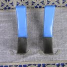 Set of 2 wall Hooks Plastic And Metal Blue Colored 2 finials, DIY Projects three hooks for decor, Re