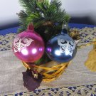 Set Of Two Vintage Glass Shabby Christmas Tree Balls Decor With Butterfly Pictures, Shabby USSR Chri