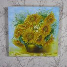 Sun Flowers Picture Summer Inspired, Oil Painting Sun Flowers In Brown Pot Art Deco Wall Hanging, Al