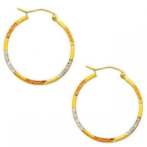 14K Real Tri Color Rose Yellow White Gold Hoops Round Earrings 2X25mm