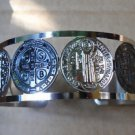 Stainless Steel 3D Black Oxidized Saint Benedict San Benito Cuff Bracelet
