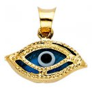 14k Yellow Gold Highly Polished Evil Eye Nazar 3D Beaded Design Charm Pendant