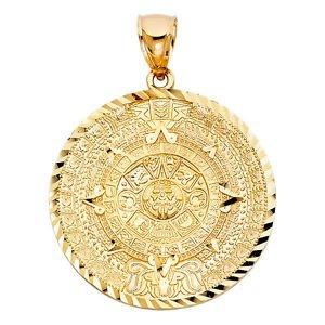 14k Yellow Gold Aztec Mayan Mexico Sun Calendar Calendario Azteca Charm Pendant