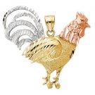 14k Gold Good Luck Totem Mystical Rooster Yang Light Masculine Men's Pendant