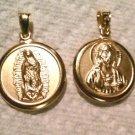 14k Jesus Christ Cristo/Virgin De Guadalupe Gold Plt Chapa de Oro Circle Pendant