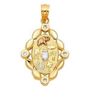 14k Gold Good Luck Evil Eye Nazar Elephant Owl Horseshoe Clover Seven Pendant