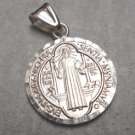 Sterling Silver 925 Saint Benedict San Benito Key Cross Round Charm Pendant