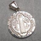 Sterling Silver 925 Saint Benedict San Benito Key Cross Round Charm Pendant