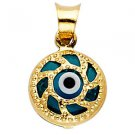 14k Yellow Gold Highly Polished Evil Eye Nazar Spiral Shell Design Charm Pendant