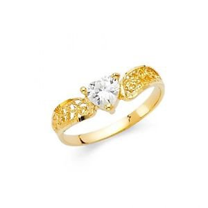 14k Gold Yellow Gold Cz Fancy Designer Love Heart Filigree Ring - Size 7