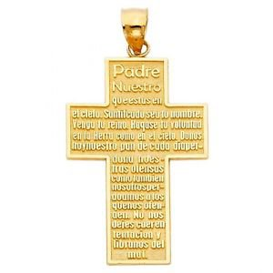 14k Yellow Gold Cross with Padre Nuestro Prayer Pendant Charm
