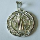 Sterling Silver Saint Benedict San Benito Polished Round Charm Pendant