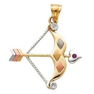 14k Gold Lucky Orisha Ochosí Oxosi Symbol St.Norbert/Sebastian Bow Arrow Pendant
