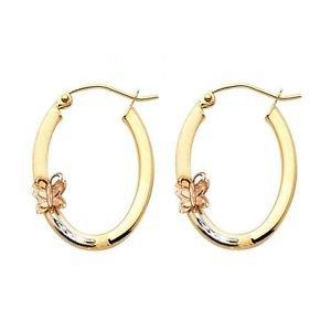 14k Tri Gold Fancy Designer Light Hollow Polished Butterfly Hoop Earrings 1.5 mm