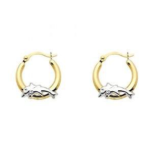 14k Multi Two Tone Gold Dolphin Hollow Light Hoop Earrings